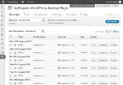 myRepono WordPress Backup Plugin: Backups