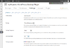 myRepono WordPress Backup Plugin: Settings