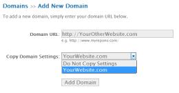 Add Domain: Copy Domain Settings