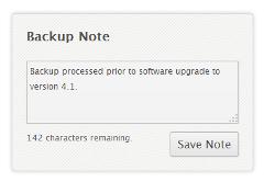 View Backup: Backup Notes