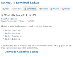 Backups: Download Backup Packets