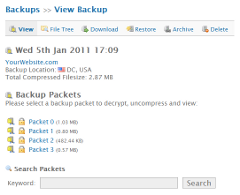 Backups: View Backup Packets
