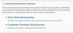 Backups: Restore Backup: Existing Restoration Session
