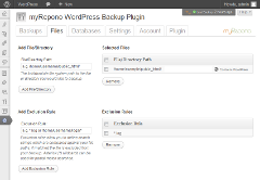 <b>myRepono WordPress Backup Plugin</b><br>Manage your backup file/directory selections and file exclusion rules in WordPress!