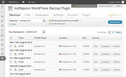 myRepono WordPress Backup Plugin & Service